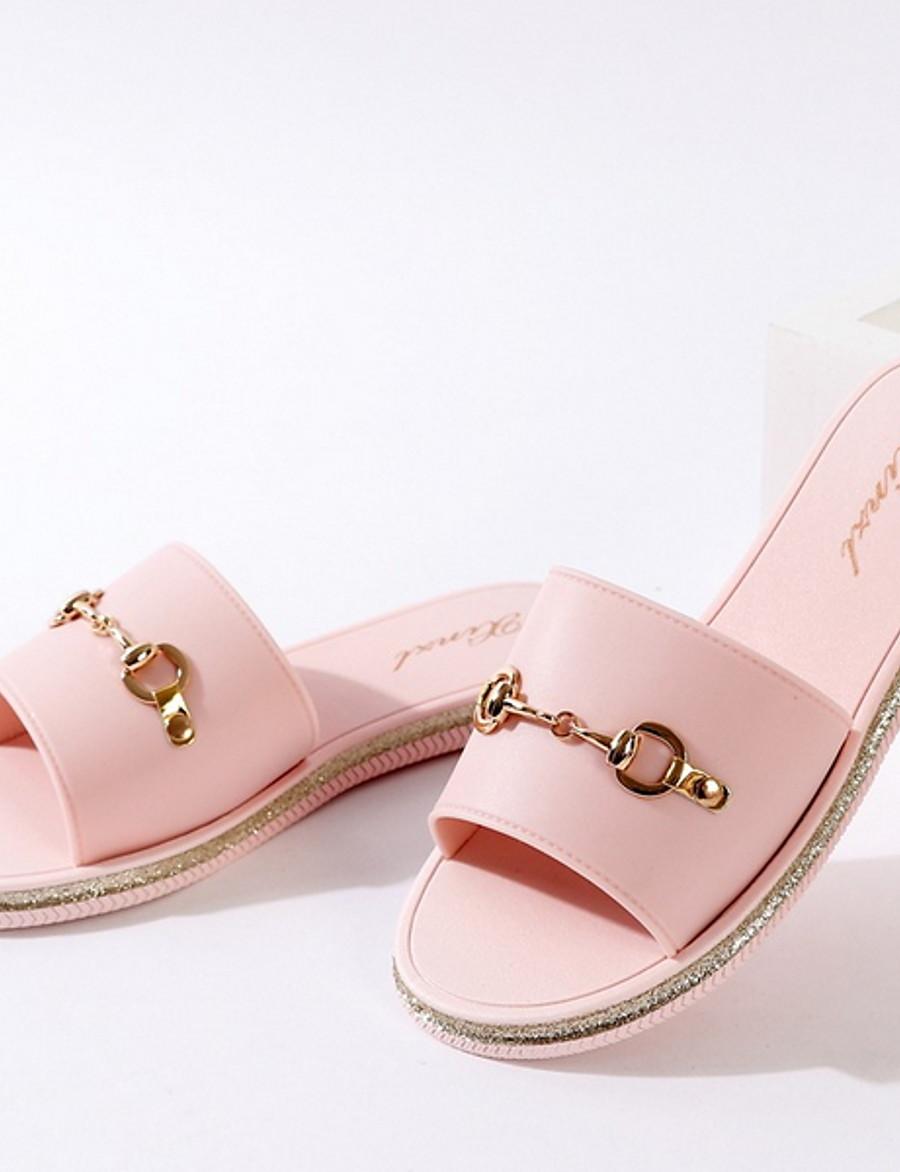 Women's Slippers & Flip-Flops Flat Heel Round Toe PVC Summer Black / Light Brown