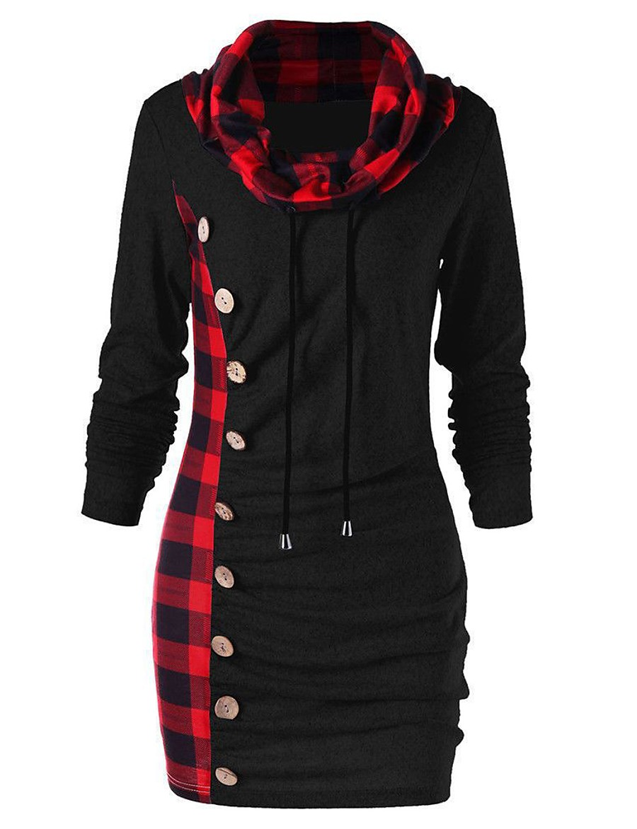 Women's Black Gray Dress Casual Bodycon Solid Color Check Black & Red Patchwork Button M L