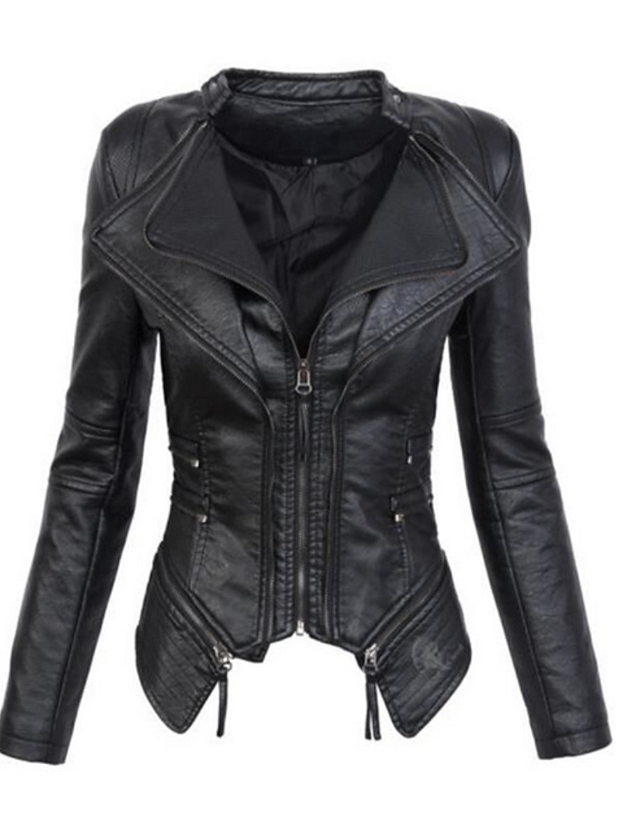 Women's Stand Collar Faux Leather Jacket Regular Solid Colored Daily Black / Red S / M / L