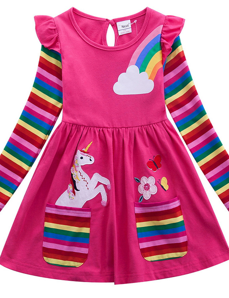 Kids Little Girls' Dress Unicorn Rainbow Flower / Floral Animal T Shirt Dress Tee Dress Cartoon With Pockets Print Blue Yellow Fuchsia Above Knee Long Sleeve Active Casual Dresses Regular Fit 2-8