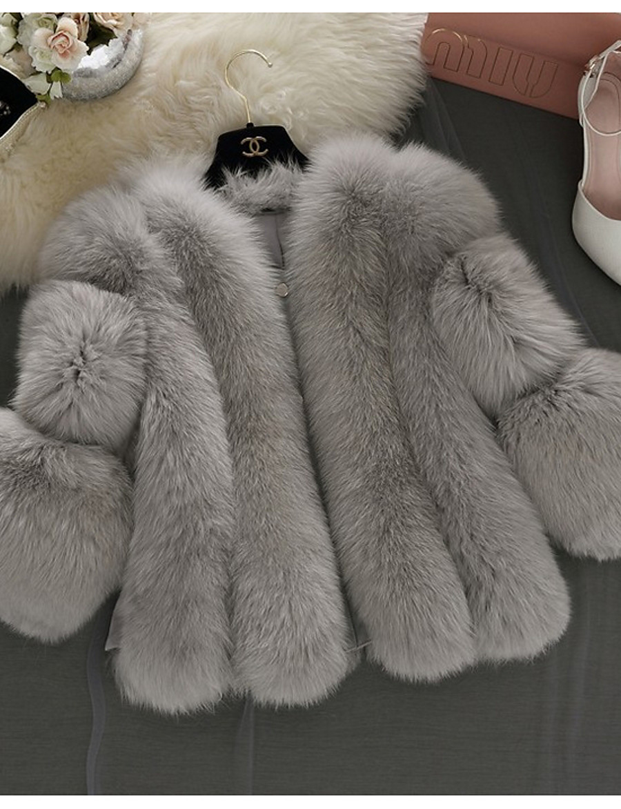 Women's V Neck Faux Fur Coat Short Solid Colored Daily Basic White Blushing Pink Gray S M L XL