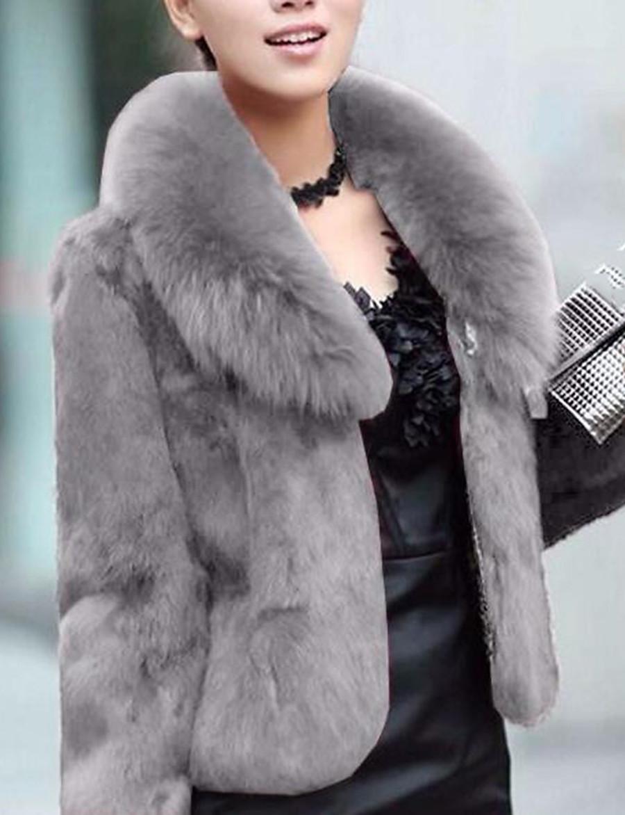 Women's Winter Shirt Collar Faux Fur Coat Regular Solid Colored Party Streetwear Plus Size Black Wine Green Brown XS S M L / Work