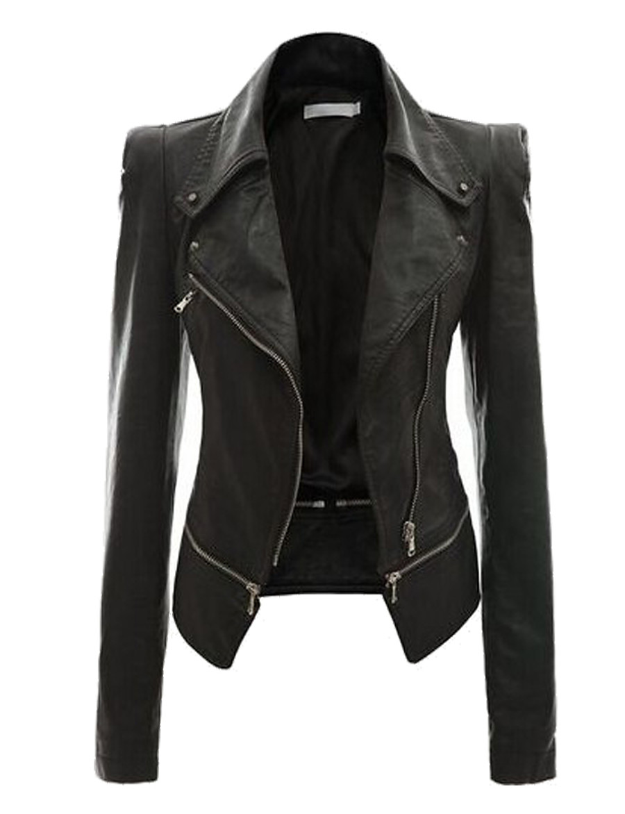 Women's Faux Leather Jacket Regular Solid Colored Daily Basic Black & Gray Black Yellow Blushing Pink Wine S M L XL / Slim