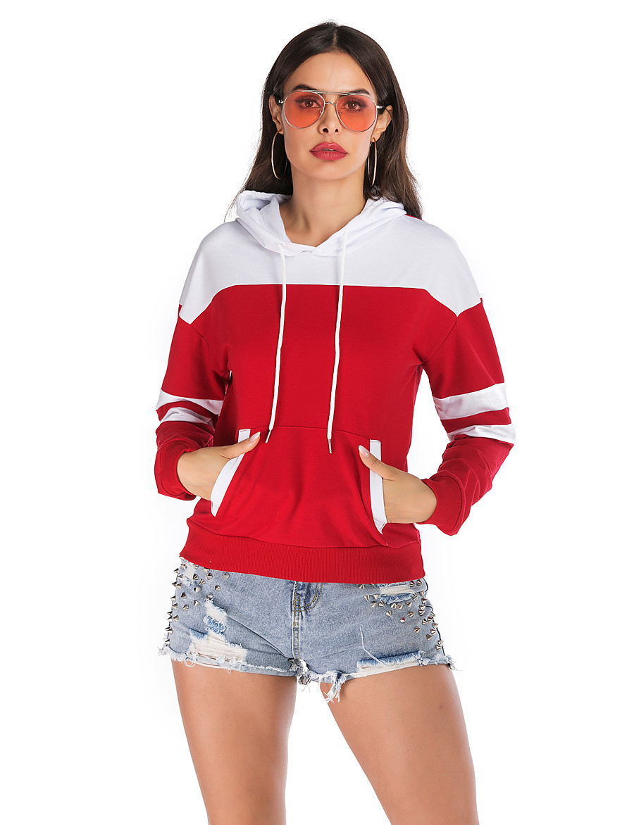 Women's Basic / Street chic Hoodie - Color Block Red S