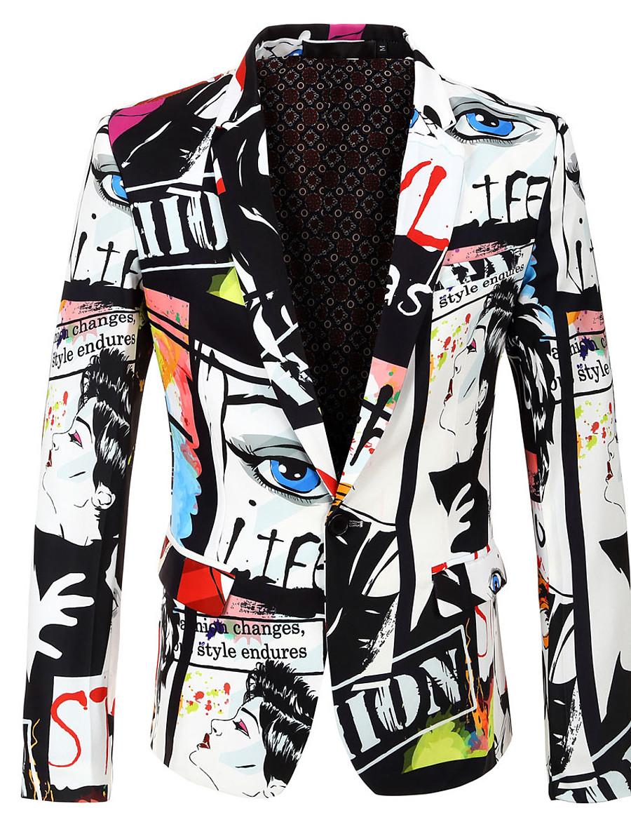 Men's Party / Holiday / Bachelor's Party Regular 3D / Abstract Notch Lapel Full Body Polyester Print White