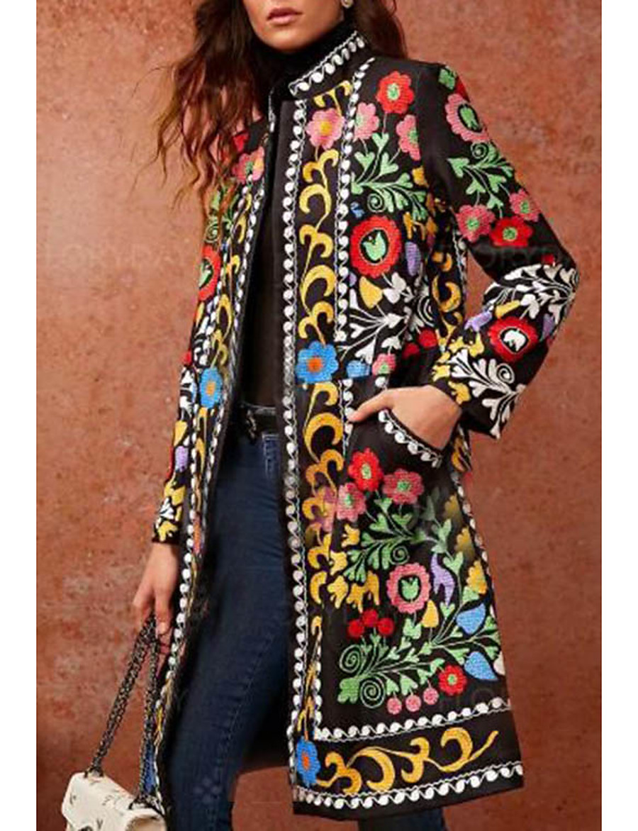 Women's Daily Basic Fall & Winter Long Coat, Geometric Stand Long Sleeve PU Green