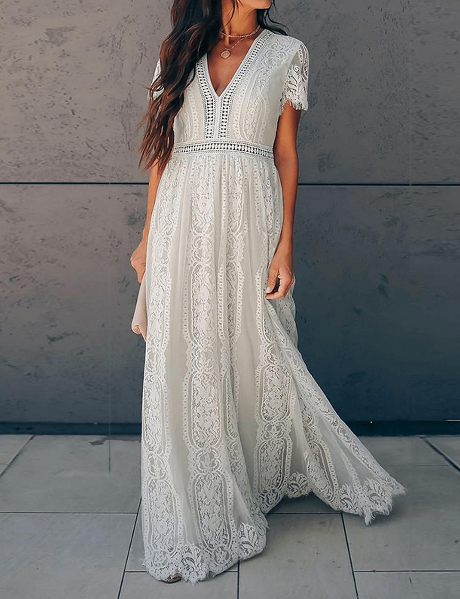 Women's Swing Dress Maxi long Dress - Short Sleeve Deep V Basic Hot vacation dresses Lace White S M L XL