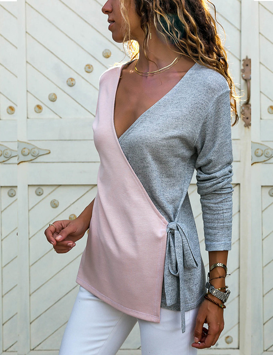Women's Color Block Long Sleeve Cardigan Sweater Jumper, V Neck Wine / Purple / Blushing Pink S / M / L