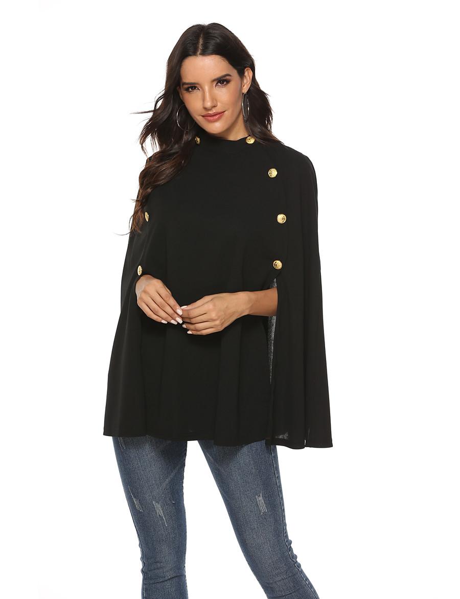 Women's Cloak / Capes Regular Solid Colored Party Black S M L / Loose
