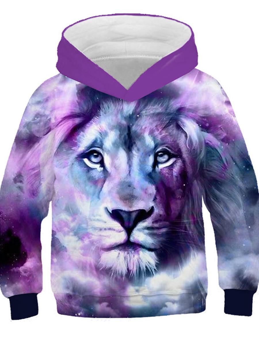 Kids Boys' Hoodie & Sweatshirt Long Sleeve Lion Print 3D Animal Print Purple Children Tops Active Streetwear