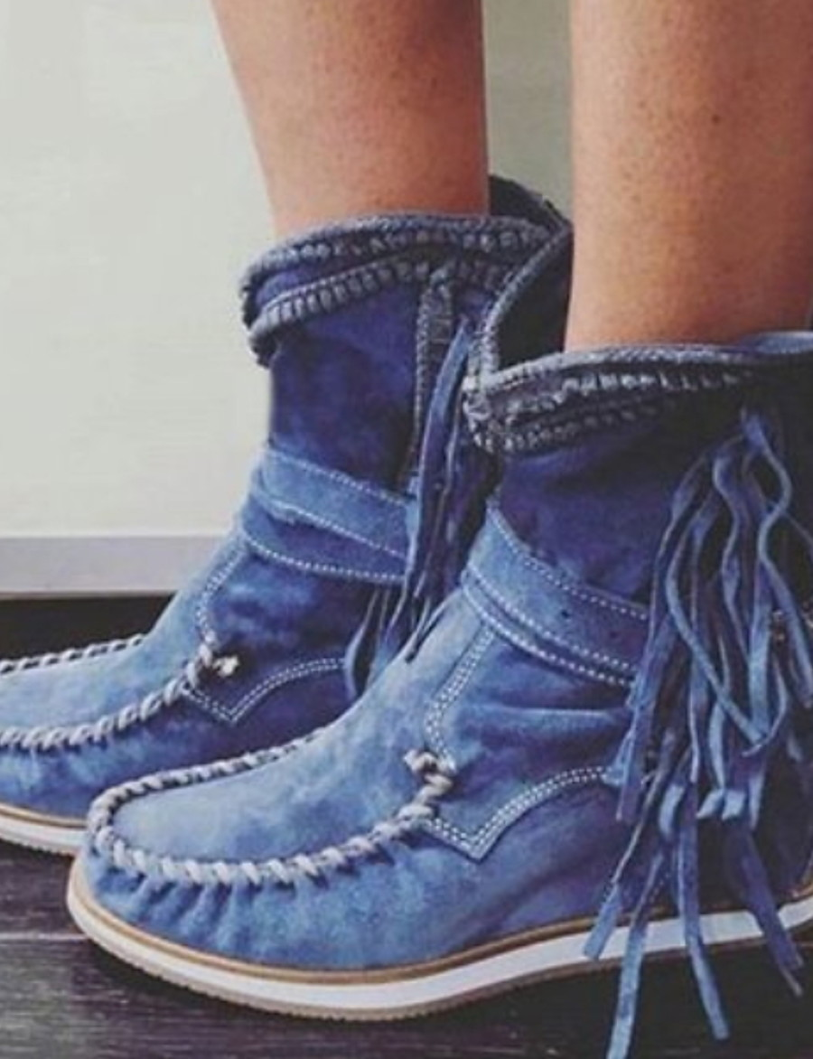 Women's Boots Comfort Shoes Flat Heel Round Toe PU Mid-Calf Boots Fall & Winter Black / Dark Brown / Green