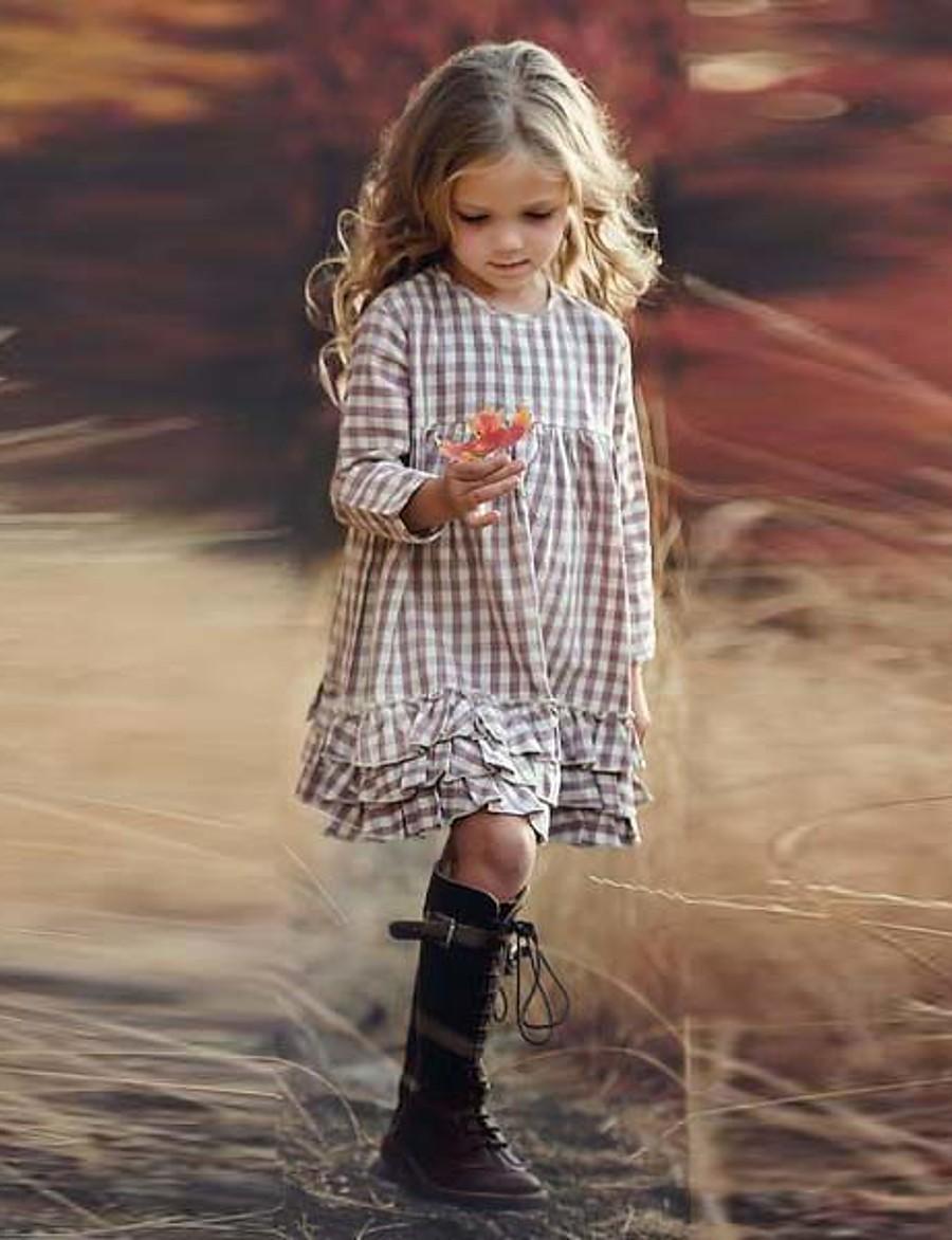 Kids Little Dress Girls' Houndstooth Print Beige Knee-length Long Sleeve Dresses