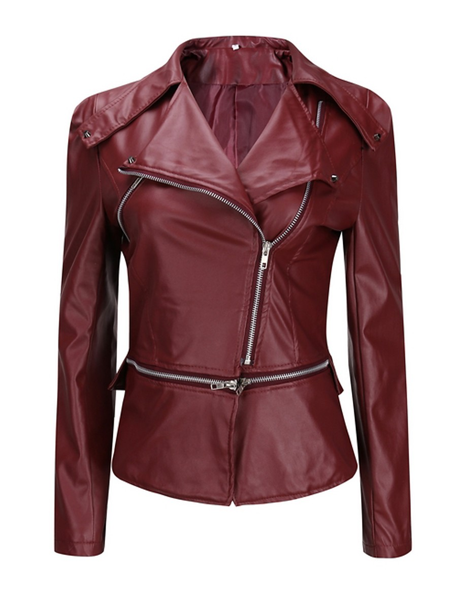 Women's Faux Leather Jacket Regular Solid Colored Daily Wine S M L