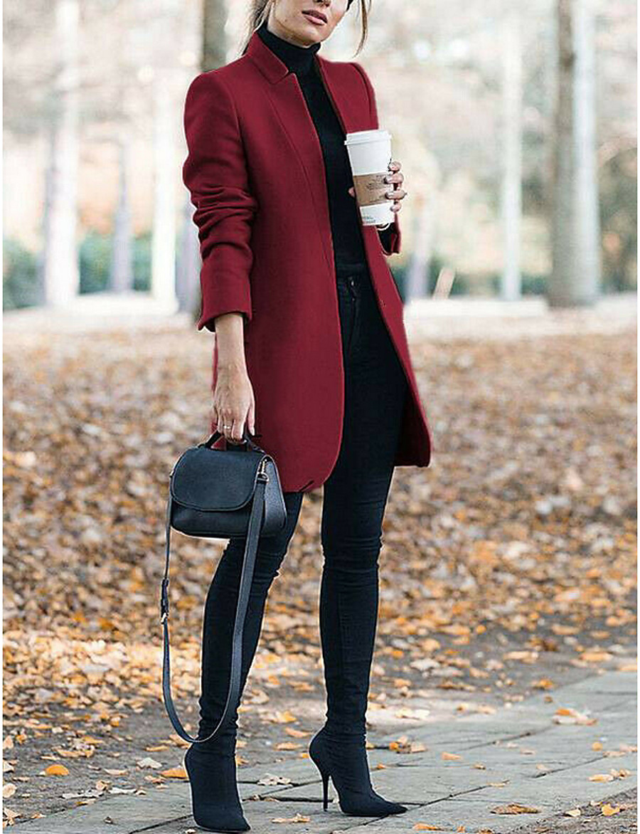 Women's Daily Long Coat, Solid Colored Stand Long Sleeve Polyester Wine / Gray / Khaki