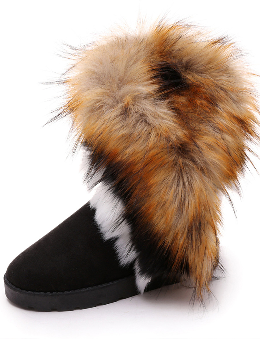 Women's Boots Snow Boots Flat Heel Round Toe Casual Daily Pom-pom Solid Colored Satin Booties / Ankle Boots Winter Camel / Black / Blue