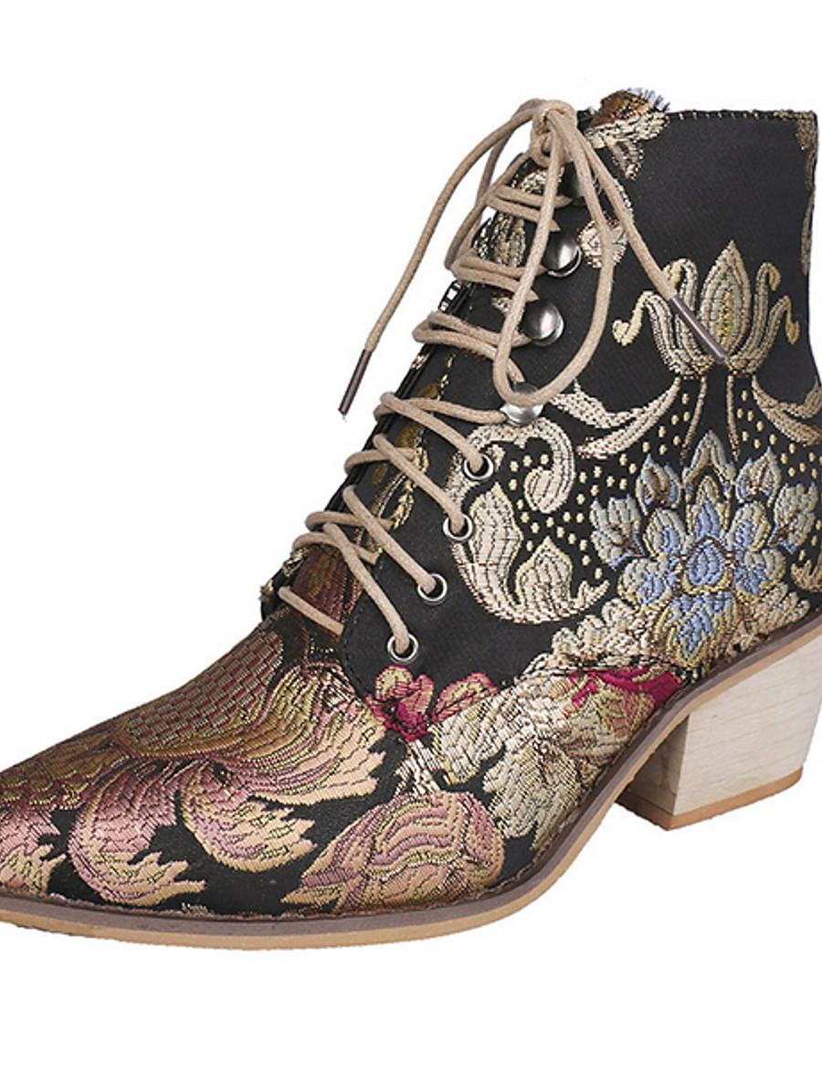 Women's Boots Animal Print Fall & Winter Chunky Heel Round Toe Daily Canvas Mid-Calf Boots Rainbow