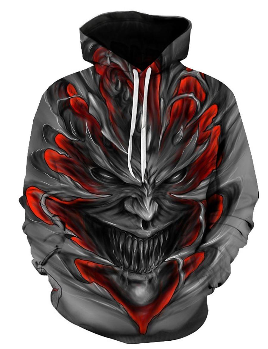 Men's Plus Size Hoodie Color Block 3D Skull Hooded Halloween Daily Weekend Casual Streetwear Hoodies Sweatshirts  Gray