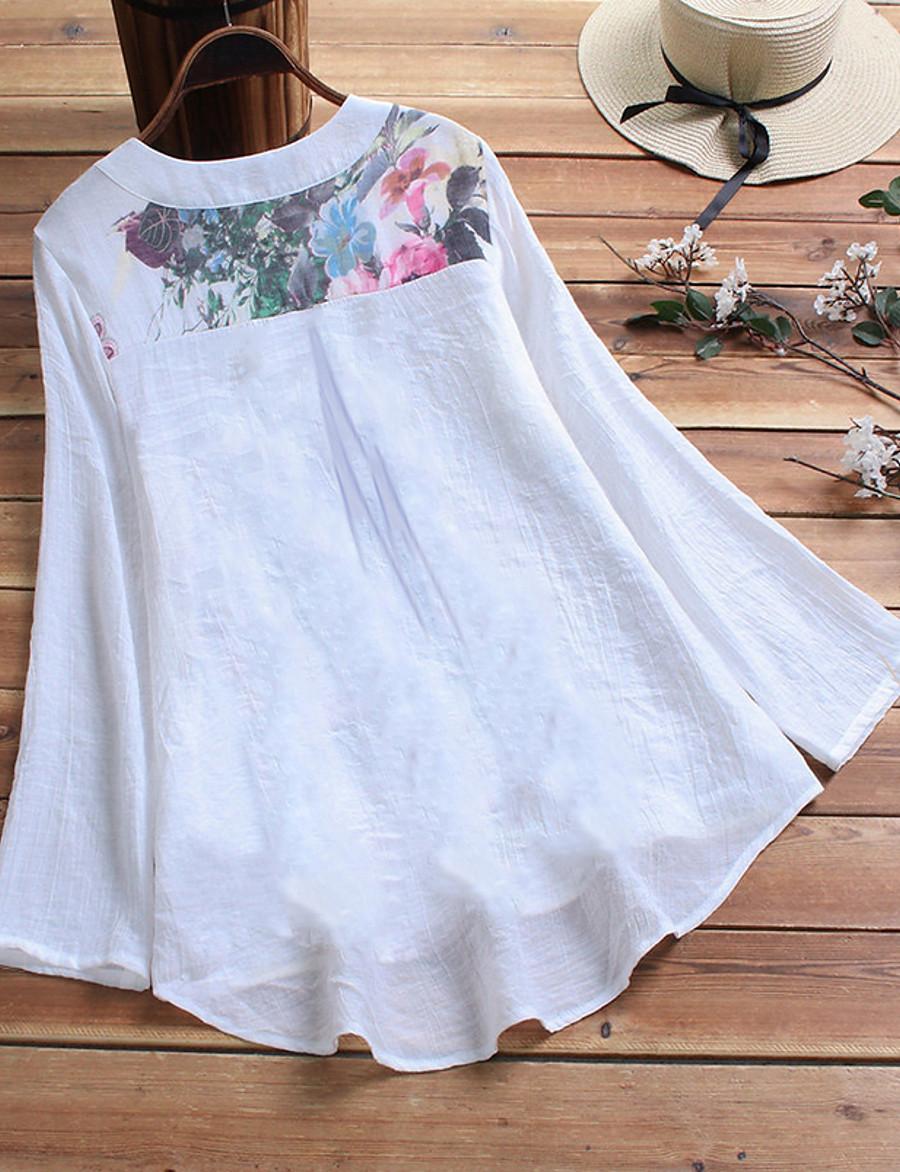 Women's Plus Size Floral Print Loose Shirt Elegant Chinoiserie V Neck White / Purple / Beige