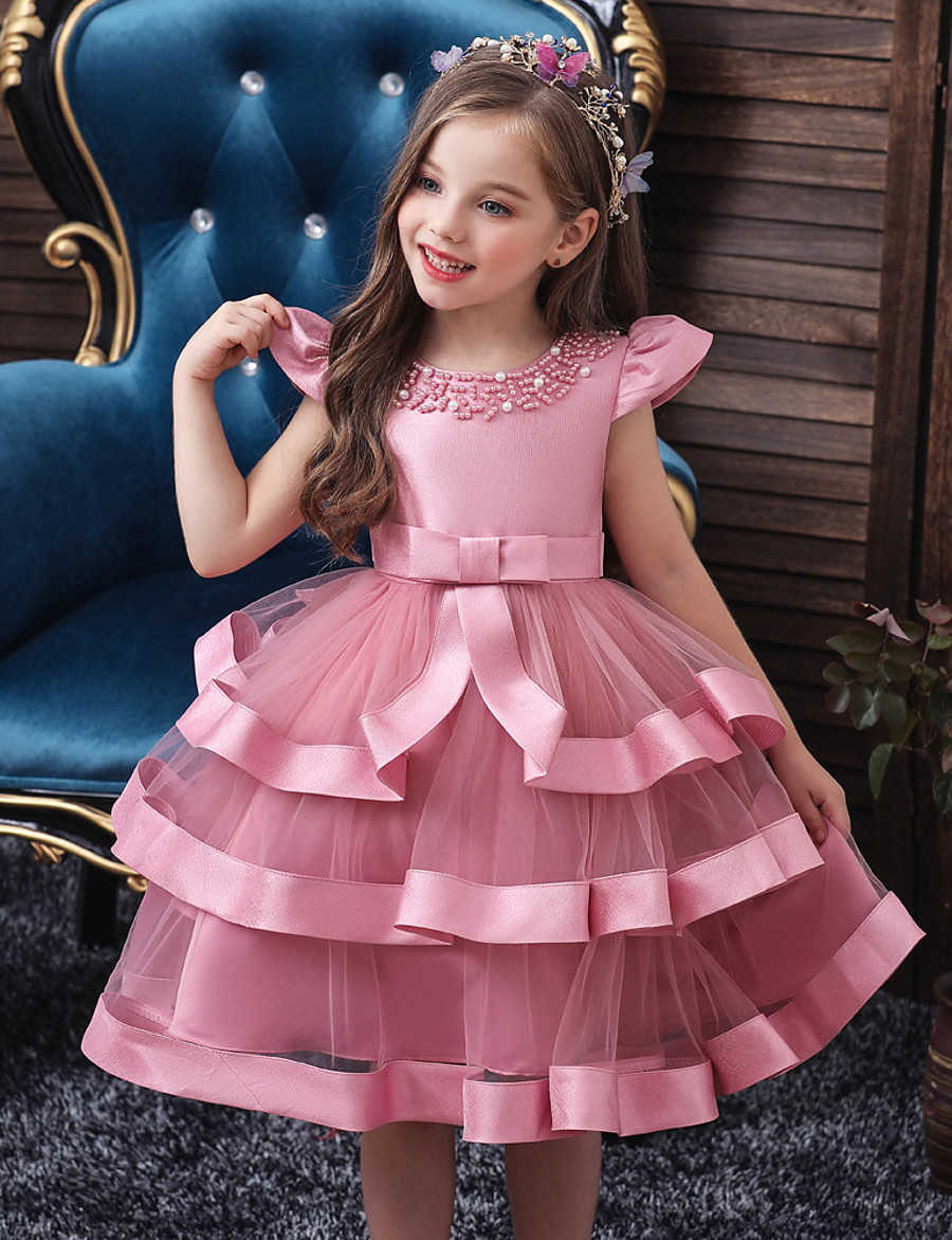 Kids Girls' Active Sweet Solid Colored Layered Sleeveless Knee-length Dress Pink 2-8Years