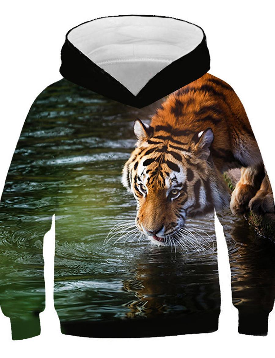 Kids Boys' Hoodie & Sweatshirt Long Sleeve Tiger Print 3D Animal Print Rainbow Children Tops Active Streetwear