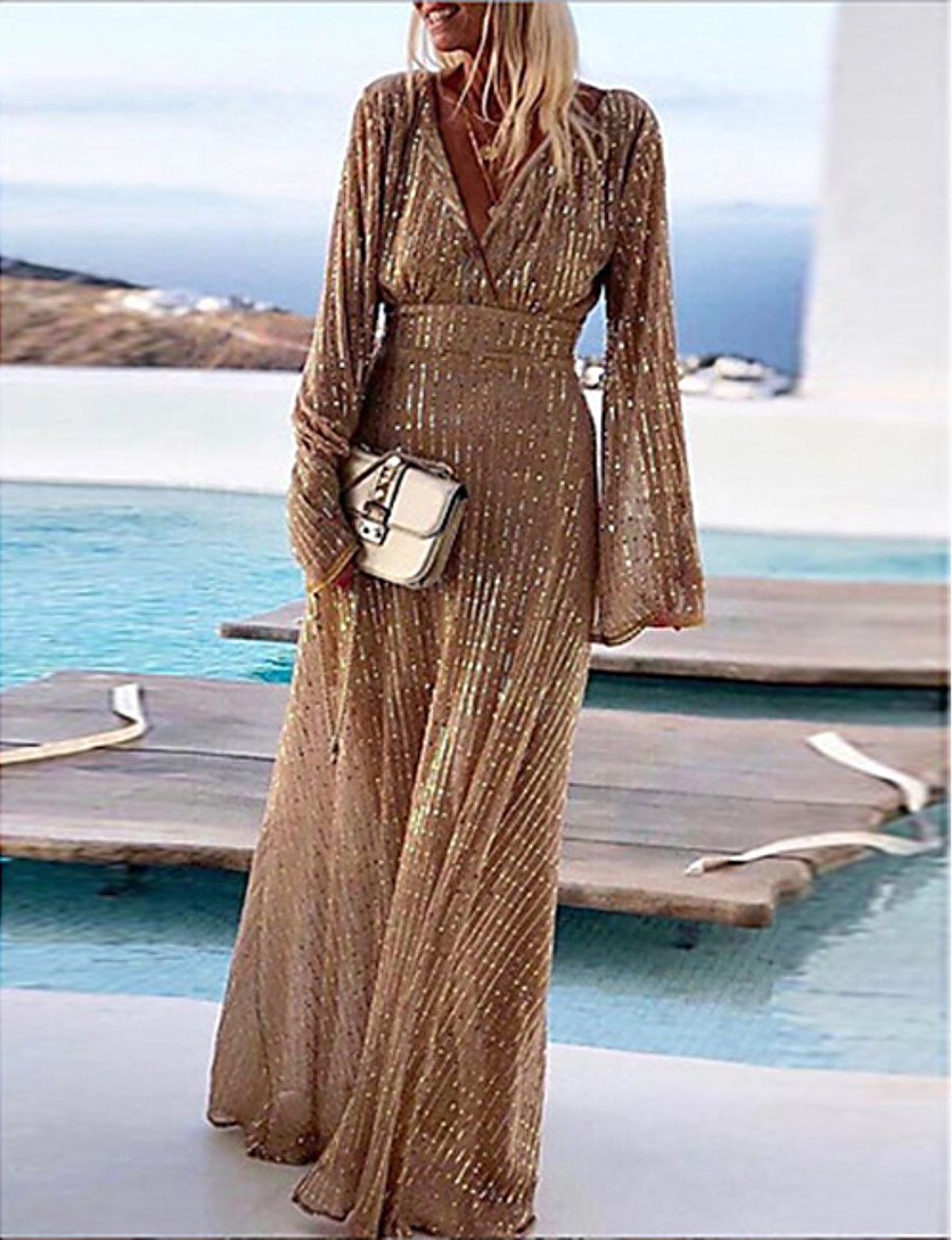 Women's Cocktail Party Prom Glamorous Glitter Metallic Party / Evening Scrunch Sleeves Maxi A Line Swing Dress - Glitter Shine Sequins Stripe Chiffon Deep V Khaki M L XL XXL