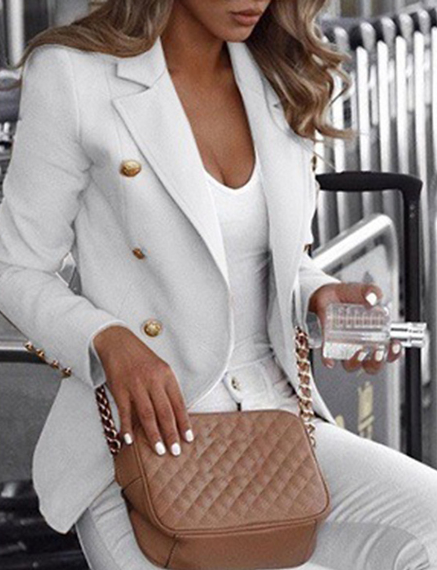 Women's Double Breasted Notch lapel collar Blazer Solid Colored White / Black / Blue S / M / L