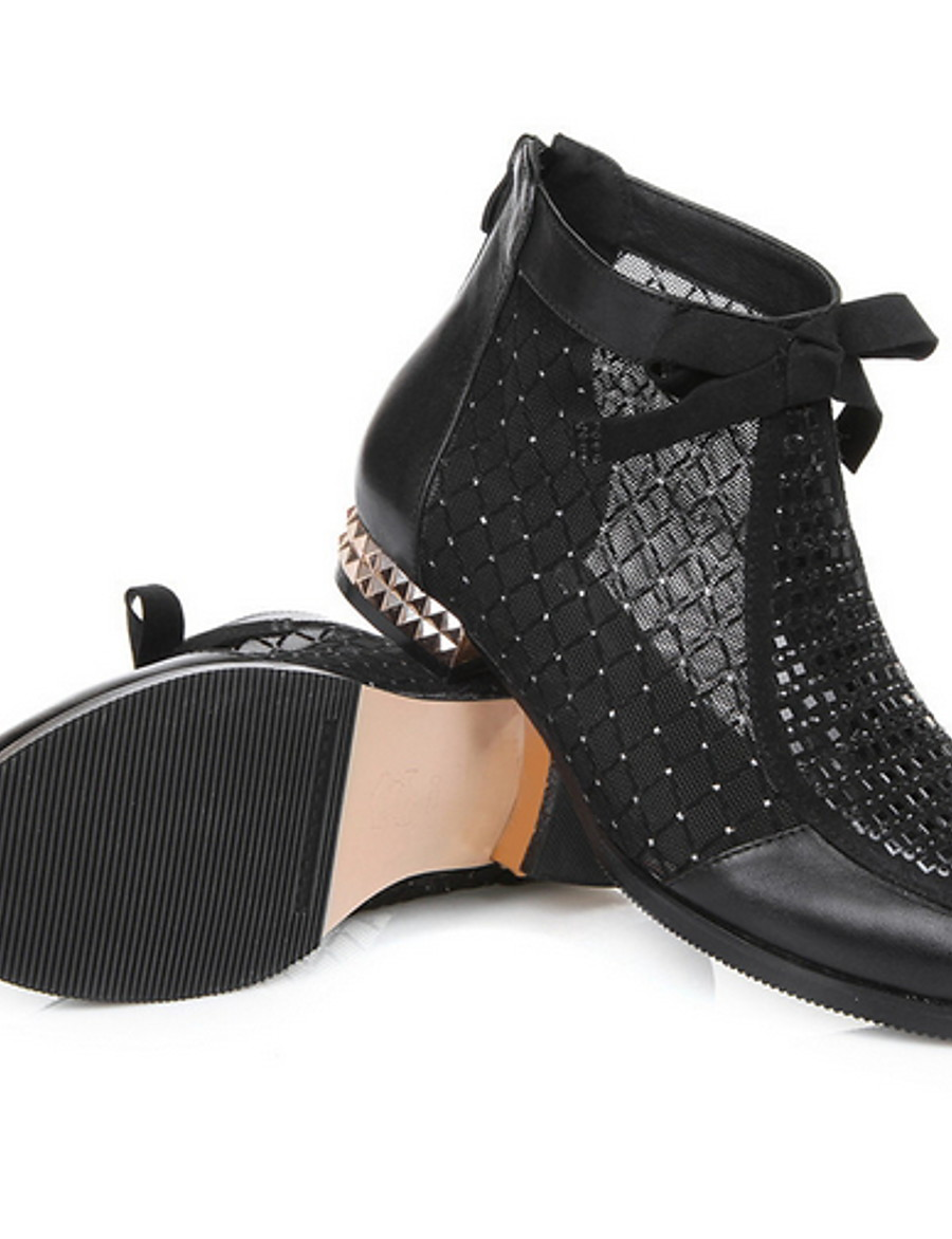 Women's Boots Flat Heel Round Toe Leather Booties / Ankle Boots Summer Black