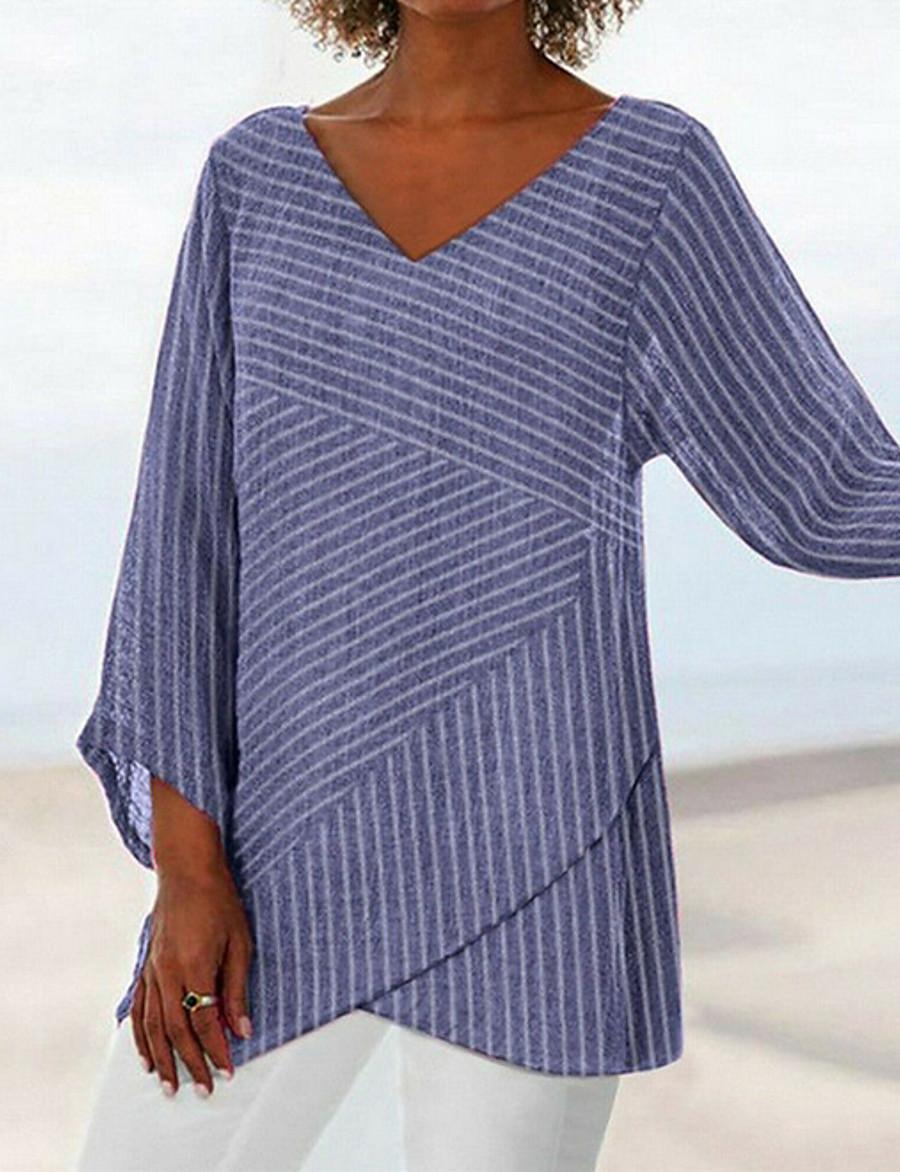 Women's Daily T-shirt - Striped V Neck Black/StayCation