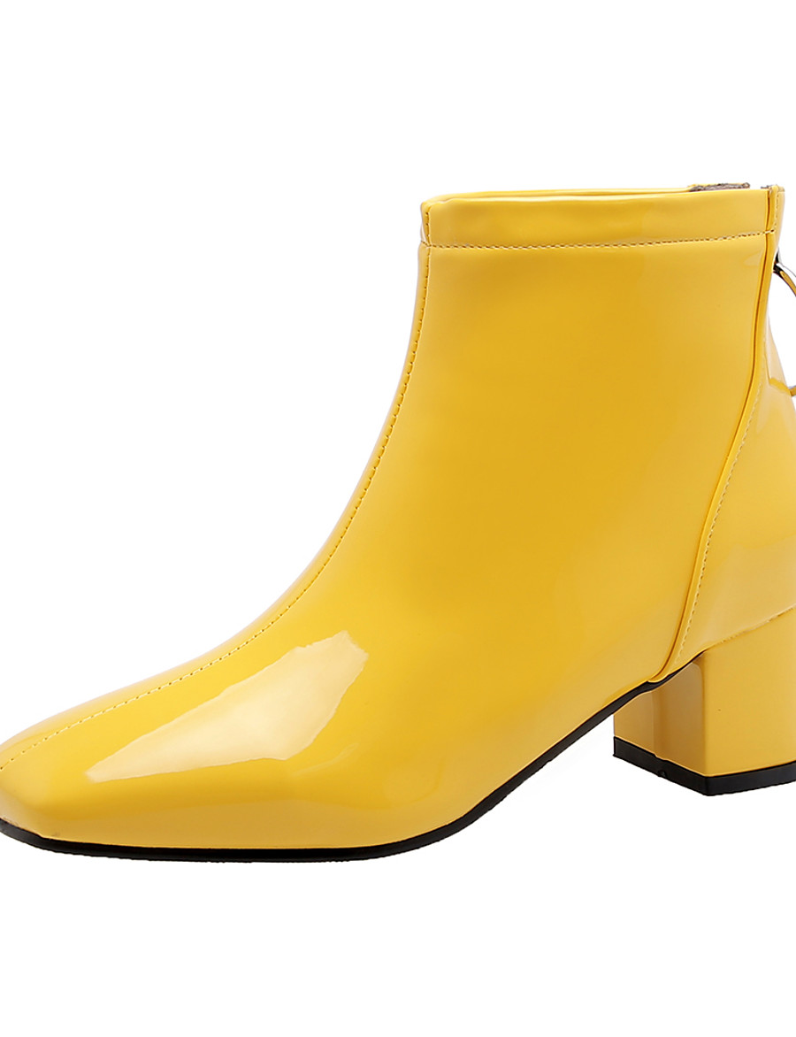 Women's Boots Chunky Heel Square Toe Patent Leather Booties / Ankle Boots Fall & Winter Black / White / Yellow / Party & Evening