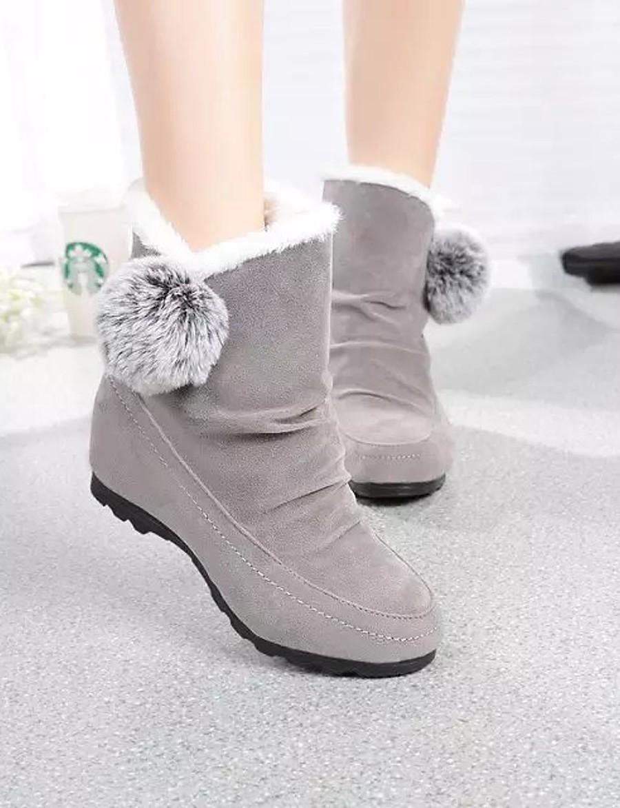 Women's Boots Snow Boots Flat Heel Round Toe Pom-pom Satin Winter Black / Burgundy / Gray