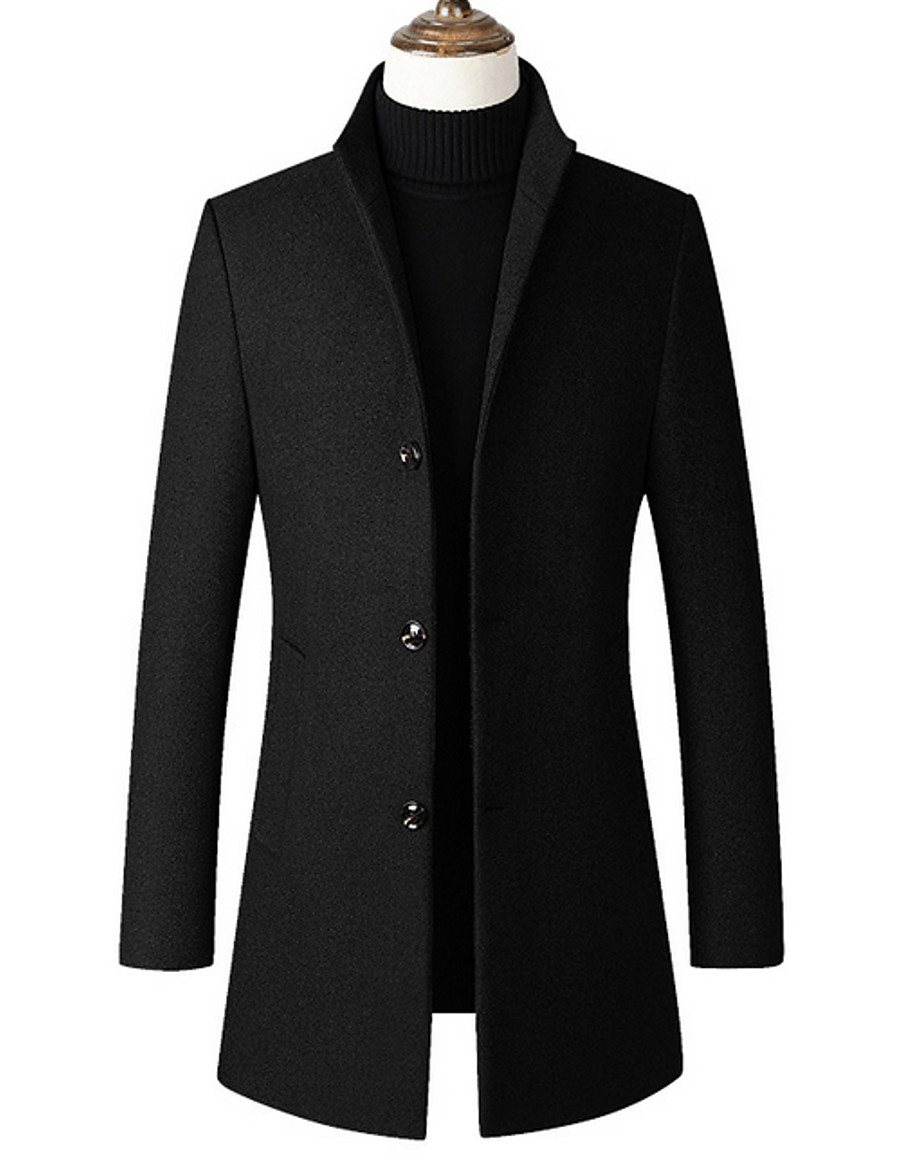 Men's Daily Long Trench Coat, Solid Colored Stand Long Sleeve Polyester Black / Wine / Gray