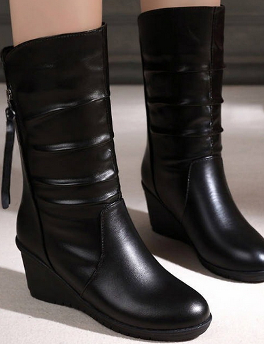Women's Boots Flat Heel Round Toe PU Mid-Calf Boots Fall & Winter Black