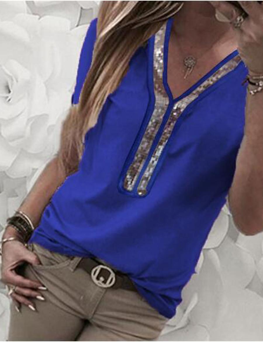 Women's T shirt Color Block Plus Size Sequins Chiffon Short Sleeve Daily Wear Tops White Black Blue