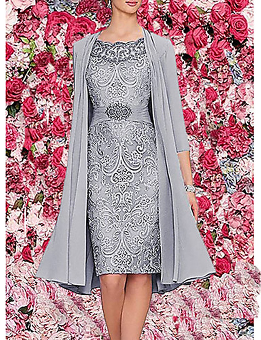 Women's Two Piece Dress - 3/4 Length Sleeve Paisley Solid Colored Lace Formal Style Wrap Spring Fall Elegant Cocktail Party Prom Birthday Slim 2020 Wine Blue Gray M L XL XXL XXXL