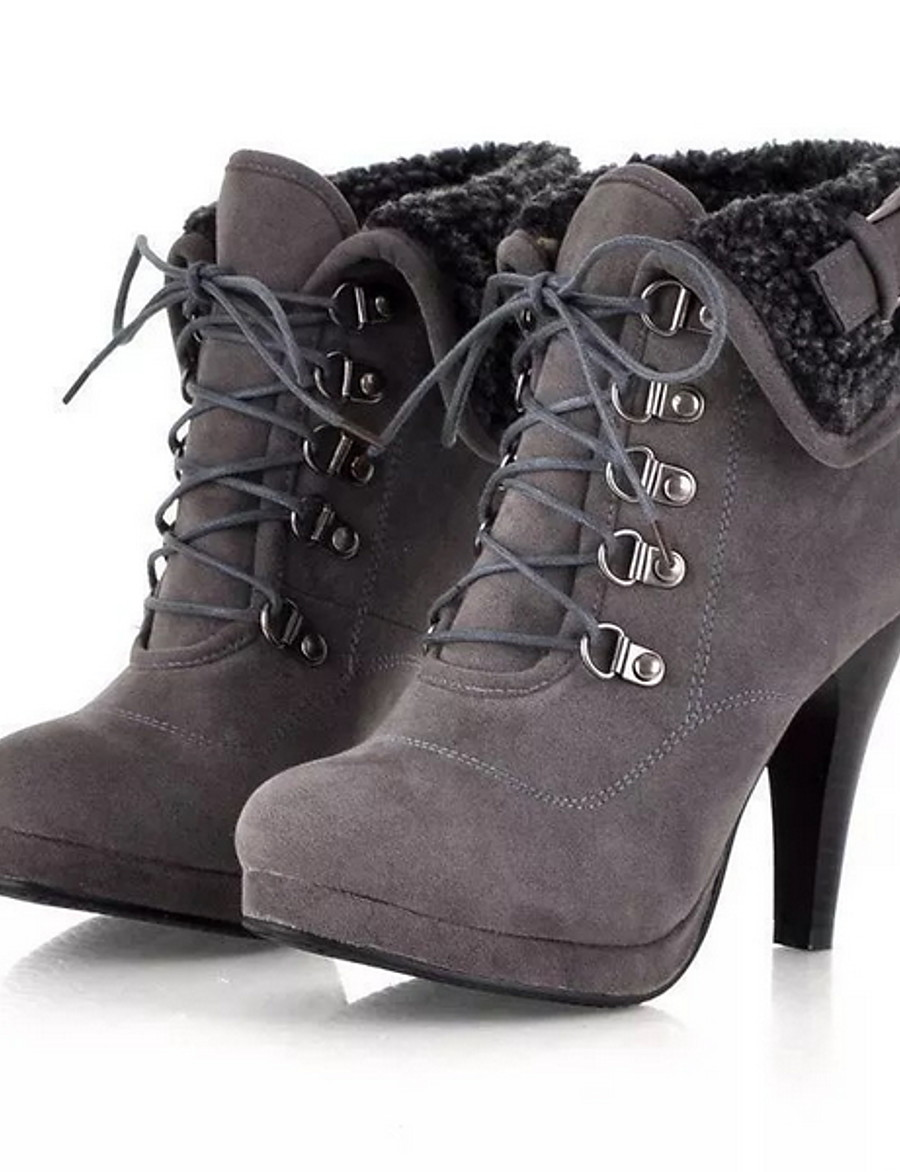 Women's Boots Stiletto Heel Round Toe Suede Booties / Ankle Boots Fall & Winter Black / Brown / Gray