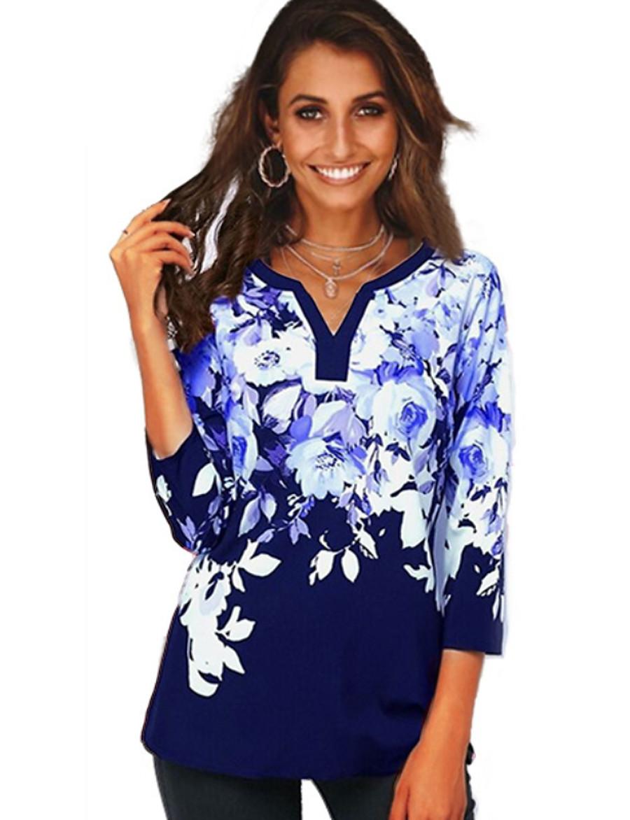Women's Daily Basic Plus Size T-shirt - Floral Print V Neck Black