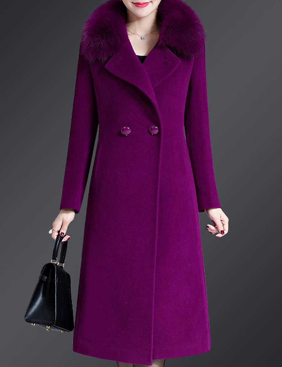 Women's Holiday Vintage / Sophisticated Winter Long Coat, Solid Colored Notch Lapel Long Sleeve Wool / Polyester Patchwork Black / Wine / Purple