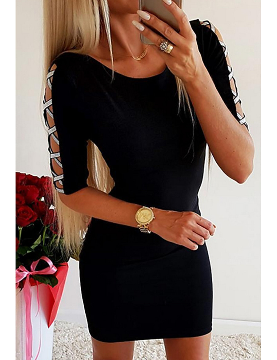 Women's Bodycon Dress - Half Sleeve Solid Colored Cut Out Glitter Going out Black S M L XL XXL