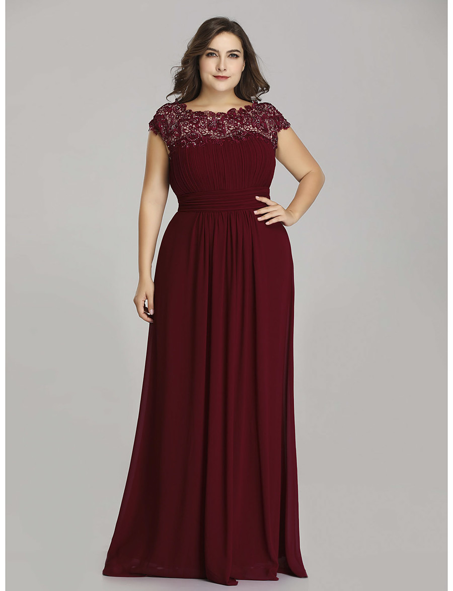A-Line Mother of the Bride Dress Plus Size Jewel Neck Floor Length Chiffon Short Sleeve with Lace Ruching 2020