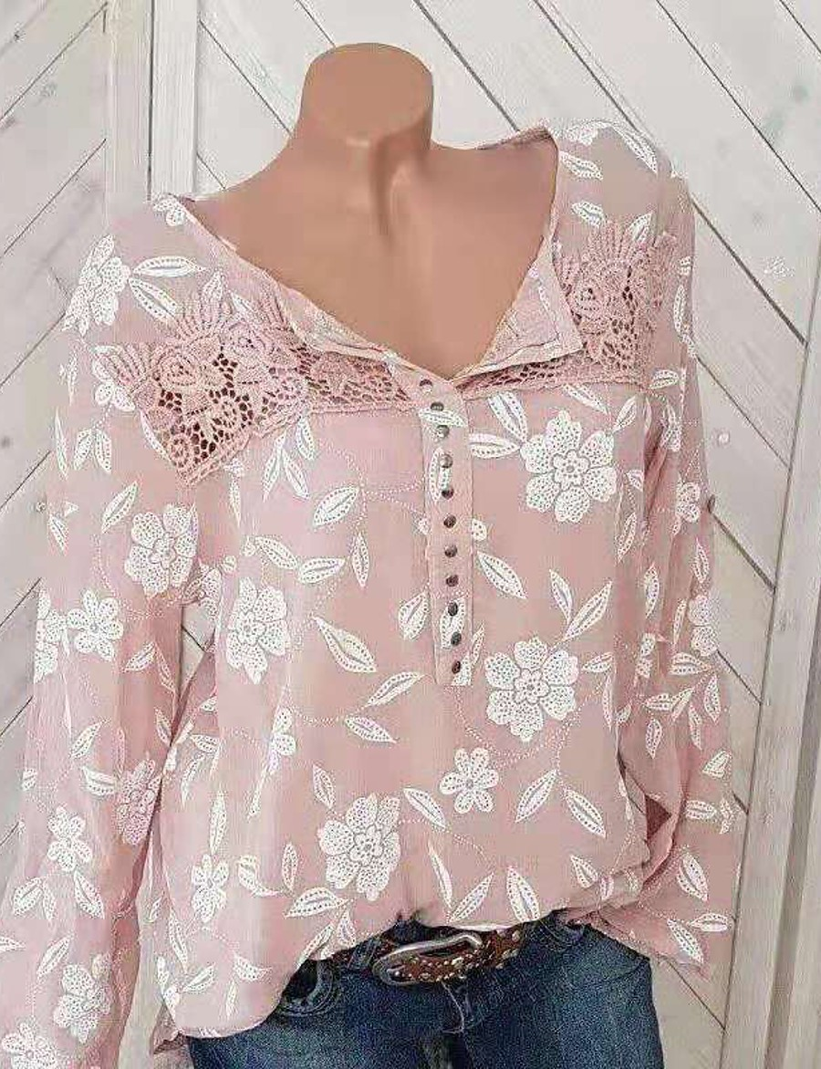 Women's Causal Blouse - Floral Print Black / Spring / Fall