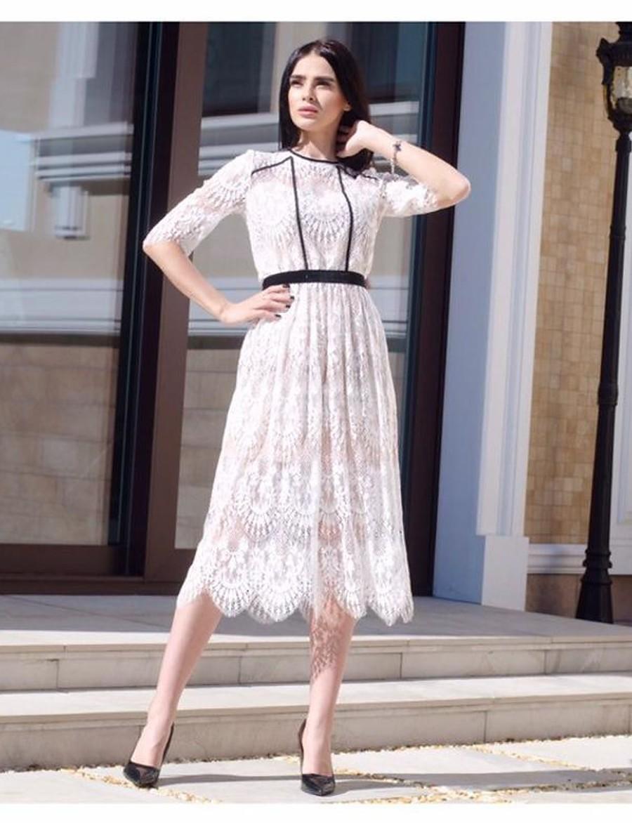 Women's Sheath Dress - Floral Lace up Blushing Pink S M L XL