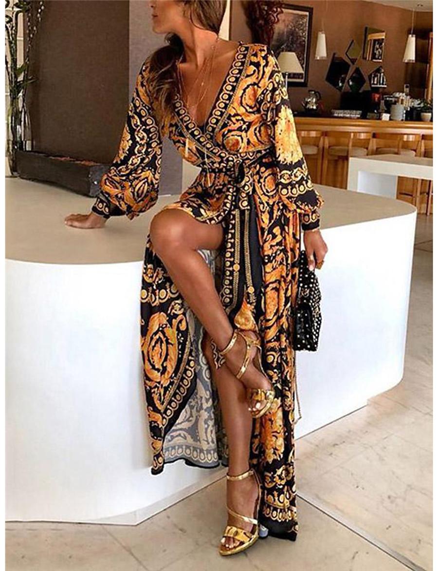 Women's Wrap Dress Maxi long Dress - Long Sleeve Print Belted Spring & Summer Deep V Boho Holiday Going out Beach 2020 Yellow S M L XL XXL XXXL