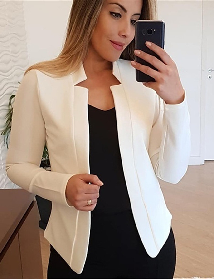 Women's Daily / Work Basic Fall / Fall & Winter Short Jacket, Solid Colored V Neck / Stand Long Sleeve Polyester / Spandex Patchwork Black / White / Blushing Pink