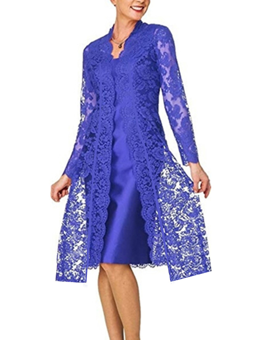 Women's Plus Size Lace Dress - Long Sleeve Solid Colored Lace Formal Style Spring Fall V Neck For Mother / Mom Going out 2020 Black Blue Red Gray S M L XL XXL XXXL XXXXL XXXXXL