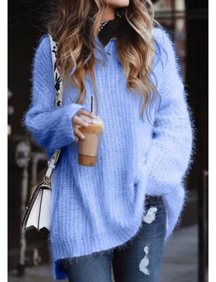 Women's Basic Solid Colored Pullover Long Sleeve Plus Size Loose Sweater Cardigans V Neck White Blue Blushing Pink