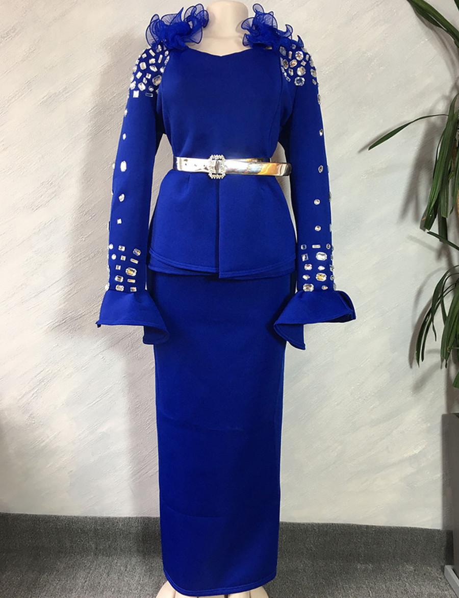 Women's Elegant Sheath Dress - Solid Colored Yellow Blue Beige L XL XXL