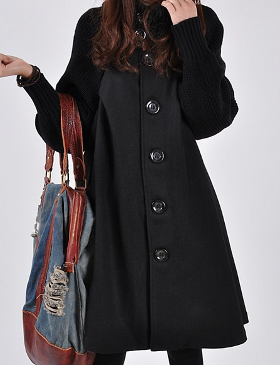 Women's Daily Long Coat, Solid Colored Turtleneck Long Sleeve Polyester Black / Red / Gray