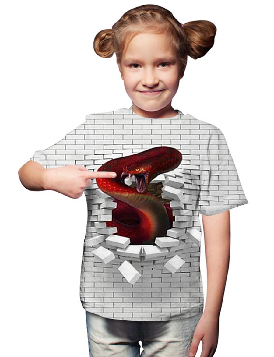 Kids Toddler Girls' T shirt Tee Fantastic Beasts Short Sleeve Print Color Block Geometric Print White Children Tops Active Basic