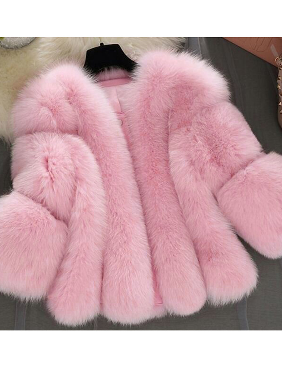 Women's Winter Fur Coat Short Solid Colored Going out Streetwear Pleated White Blushing Pink Gray S M L