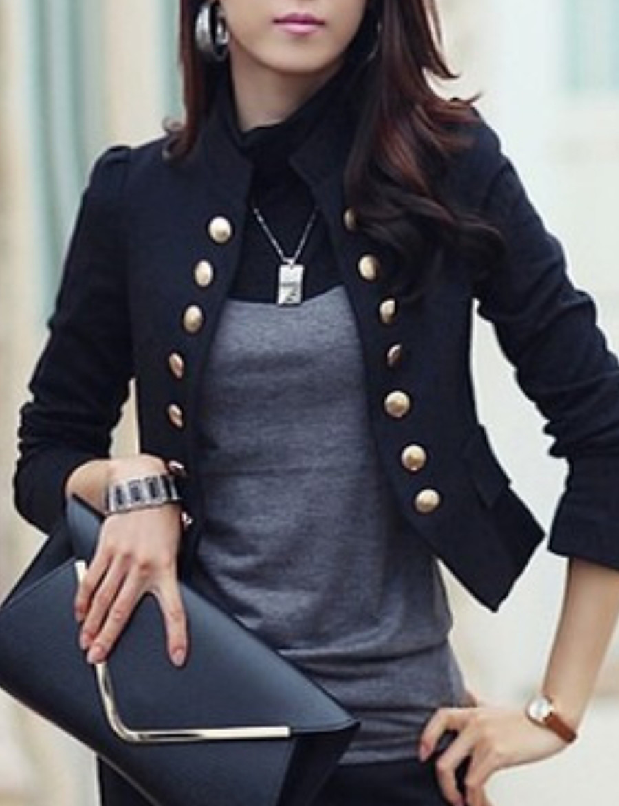 Women's Blazer Solid Colored Polyester Coat Tops White / Black